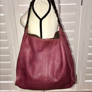 LUCKY BRAND SHOULDER BAG PLUM LEATHER WHIPSTITCH